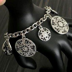 Talbots Silver Tone Coin Charm Bracelet